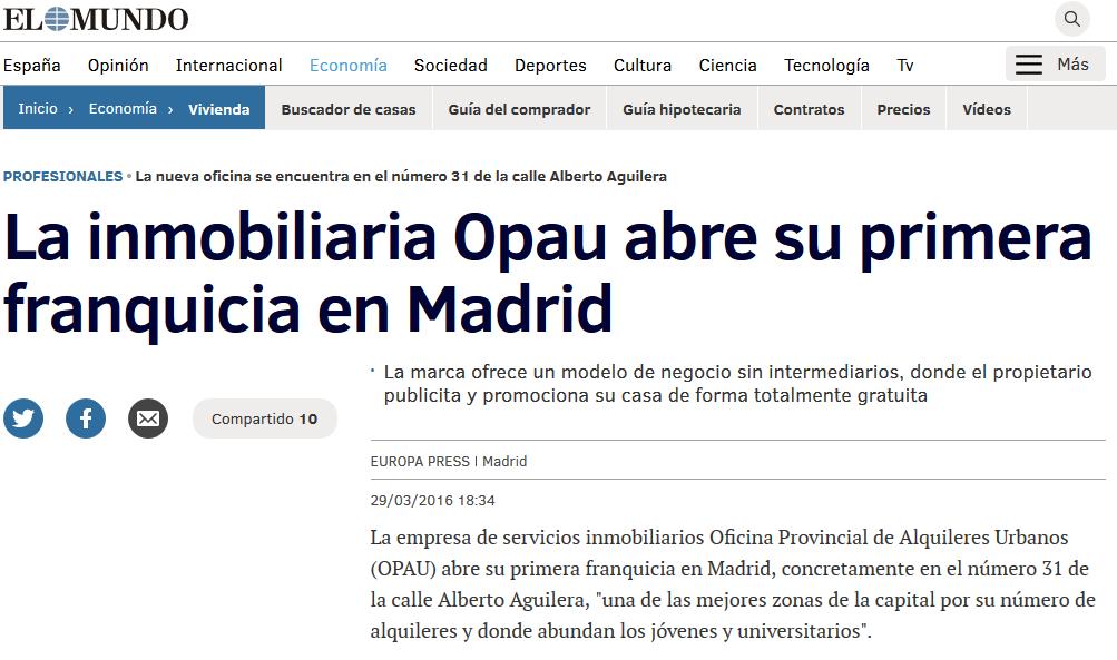 La inmobiliaria Opau abre su primera franquicia en Madrid