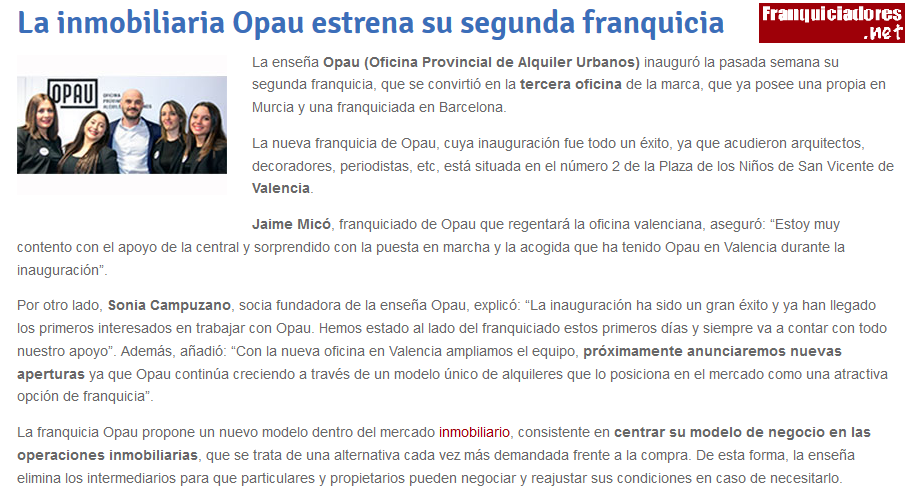 La inmobiliaria Opau estrena su segunda franquicia