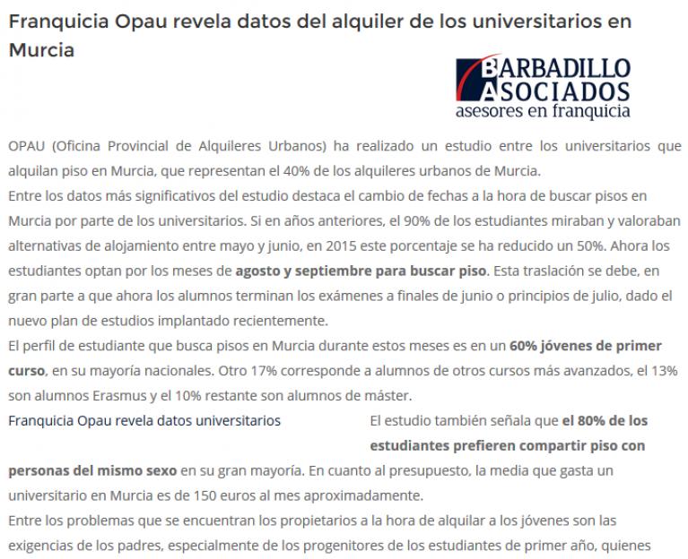 Franquicia Opau revela datos del alquiler de los universitarios en Murcia