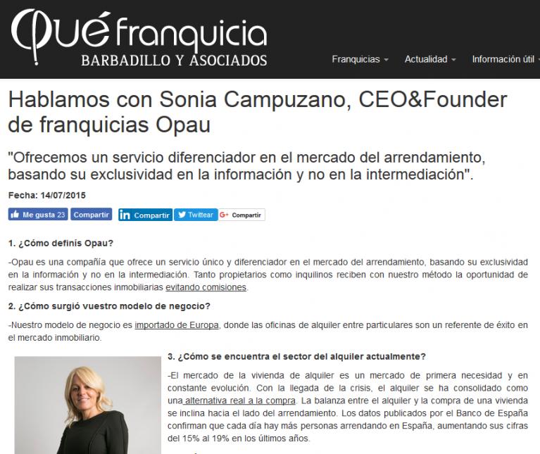 Entrevista a Sonia Campuzano, CEO&Founder de franquicias Opau