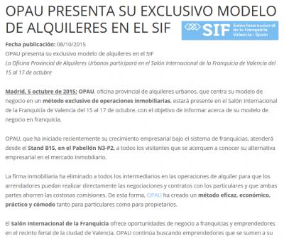 OPAU presenta su exclusivo modelo de alquileres en el SIF